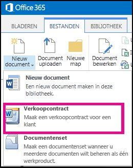 Vervolgmenu van de knop Nieuw document met het inhoudstype Verkoopcontract