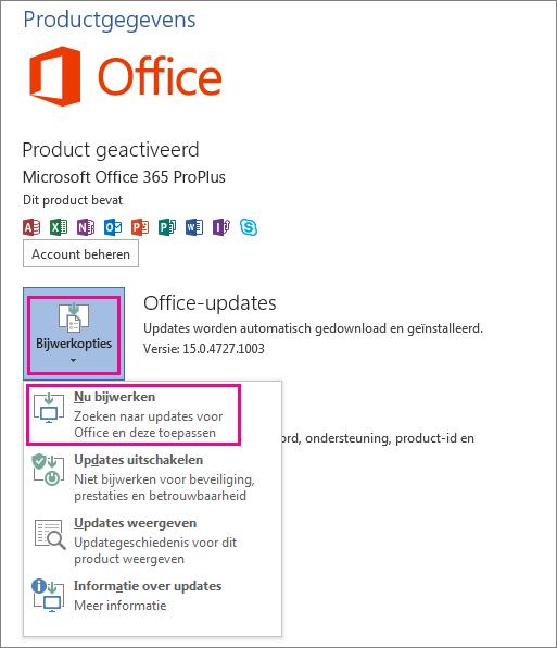 Handmatig controleren op Office-updates in Word 2013