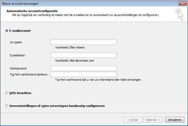 Dialoogvenster Nieuw account toevoegen met E-mailaccount geselecteerd