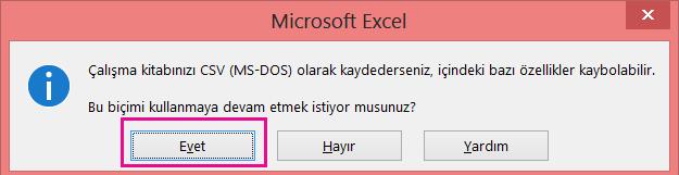 Een afbeelding van de prompt die mogelijk verschijnt in Excel waarin wordt gevraagd of u het bestand als CSV-bestand wilt opslaan