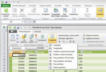 Het venster PowerPivot voor Excel openen in Excel 2010