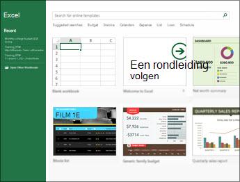 Enkele sjablonen die beschikbaar zijn in Excel