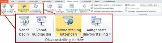 Diavoorstelling uitzenden, in de groep Diavoorstelling starten, op het tabblad Diavoorstelling in PowerPoint 2010