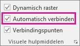 Schakel Automatisch verbinden in of uit op het tabblad Weergave om Automatisch verbinden in of uit te schakelen.