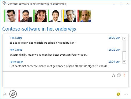 Schermafbeelding van permanent chatgesprek met zes deelnemers