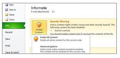 Gebied Beveiligingswaarschuwing wanneer een bestand niet kan worden vertrouwd