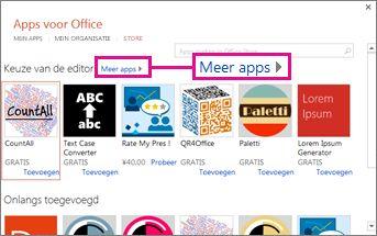 Klik op Meer apps als u in de winkel door apps wilt bladeren