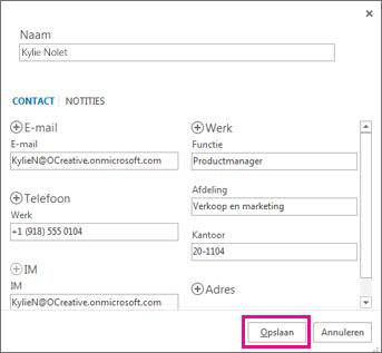 Een nieuwe contactpersoon toevoegen aan Outlook vanuit een bericht