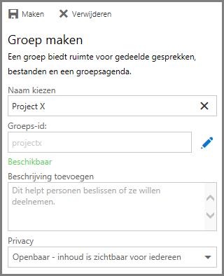 Schermafbeelding van het typen van een naam en het klikken om Maken om een groep vanuit OneDrive voor Bedrijven te maken