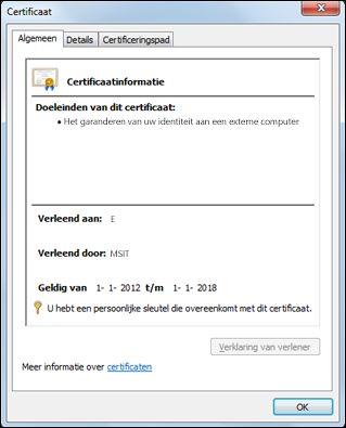 Dialoogvenster Certificaat