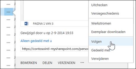 Selecteer de opdracht Volgen in het hovercardmenu in OneDrive voor Bedrijven als u een document wilt volgen.