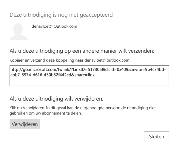 Schermafbeelding van het dialoogvenster voor een in behandeling zijnde uitnodiging met een koppeling om te verzenden via e-mail en een knop om de uitnodiging te verwijderen.