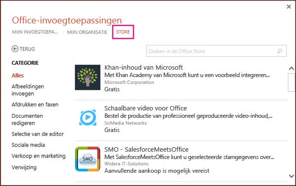 Dialoogvenster Office-invoegtoepassingen met Store-knop gemarkeerd