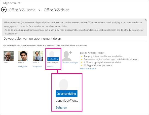 Schermafbeelding van de pagina Delen van Office 365 waarin een gebruiker is geselecteerd waarvoor een gedeeld abonnement in behandeling is.