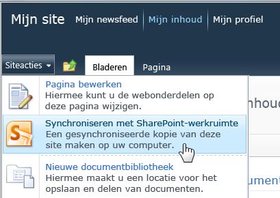 De opdracht Synchroniseren met SharePoint Workspace in het menu Siteacties