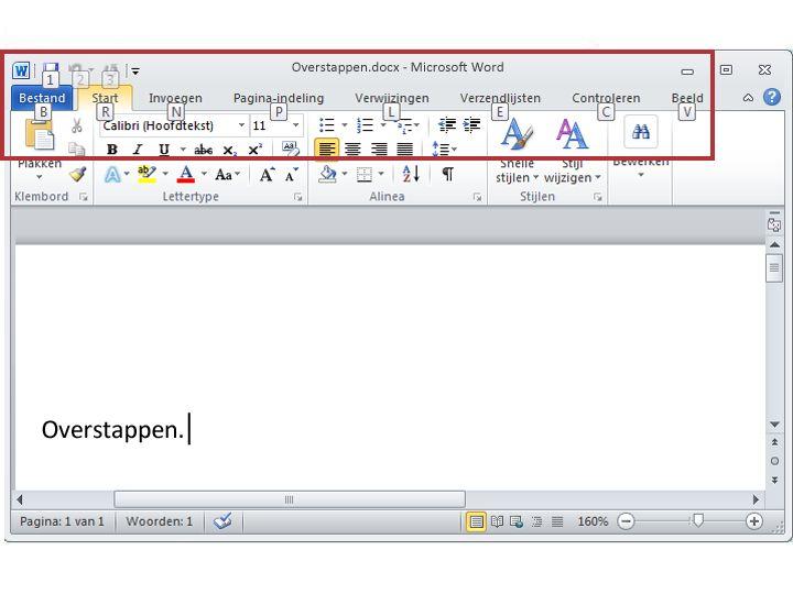 Tabblad Startpagina in Word 2010 wordt weergegeven met toetsentips