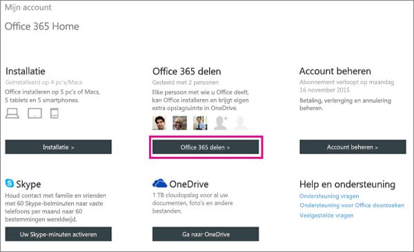 Schermafbeelding van de pagina Mijn account, waarin de knop Office 365 delen is geselecteerd.