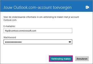 De pagina Een Outlook-account toevoegen in Windows 8 Mail