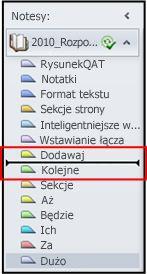 Linia sekcji wskazująca położenie docelowe w okienku Notesy