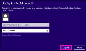 Strona Dodawanie konta Microsoft w aplikacji Poczta systemu Windows 8