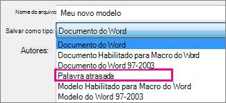 Salvar documento como modelo