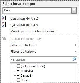 Caixa Pesquisar, na lista de filtros