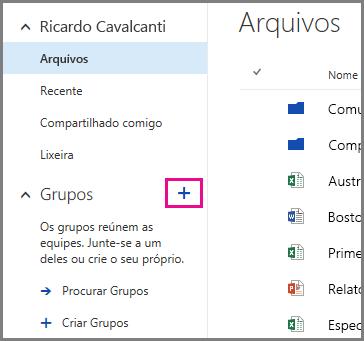 Captura de tela sobre como criar um grupo a partir do OneDrive for Business clicando no sinal de adição