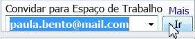 Convidando para um espaço de trabalho através do endereço de email