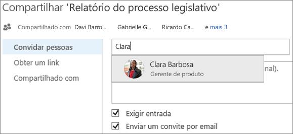 Captura de tela de um compartilhamento de arquivo no OneDrive for Business