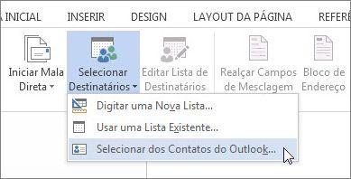 Comando para selecionar contatos do Outlook