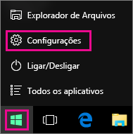 Acessando as Configurações no menu Iniciar do Windows 10