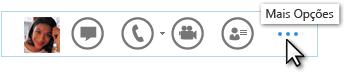 Captura de tela do menu Lync Rápido mostrando Mais Opções