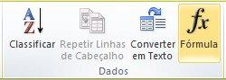 O grupo Dados da guia Layout das Ferramentas de Tabela na faixa de opções do Word 2010