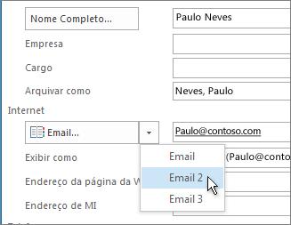 Adicionar um endereço de email extra para um contato