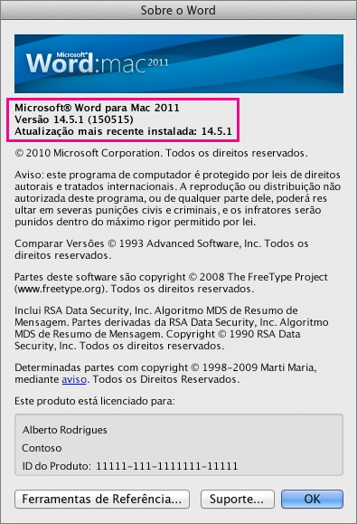 Word para Mac 2011 mostrando a página Sobre o Word