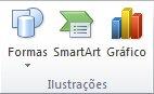 O grupo Ilustração, na guia Inserir, no PowerPoint 2010.