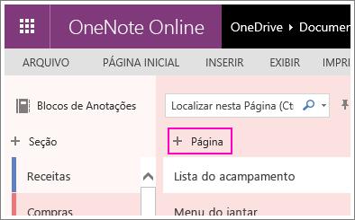 Captura de tela que mostra como adicionar uma página no OneNote Online.