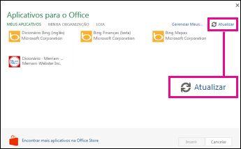 botão de atualização de Aplicativos do Office