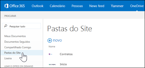 Select site folders in OneDrive for Businss to find sites you're following that contain document libraries