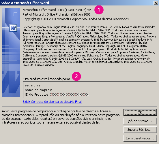 Janela Sobre o Microsoft Office Word 2003