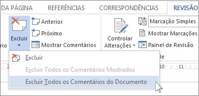 Comando Excluir todos os comentários no documento no menu Excluir Comentários