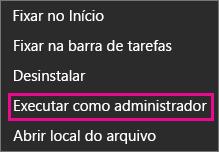 Mostra como clicar com o botão direito do mouse em um ícone do Office e escolha Executar como administrador no Windows 8 ou 8.1