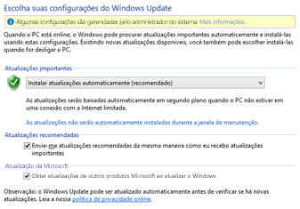 Configurações do Windows Update do Windows 8 no Painel de Controle