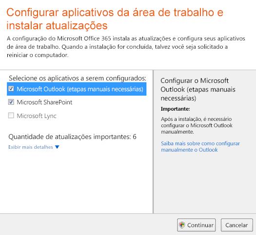 Configurar aplicativos da área de trabalho e instalar atualizações