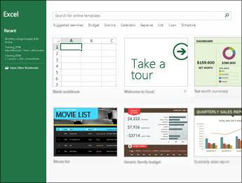 Alguns dos modelos que estão disponíveis no Excel