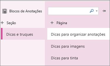 Seções e páginas no OneNote Online