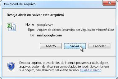 Caixa de diálogo Download de Arquivo