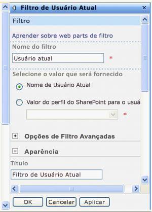Painel de ferramentas da Web Part de Filtro de Usuário Atual.