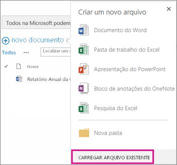 Captura de tela da nova caixa de diálogo de documento com o botão Carregar Arquivo Existente realçado