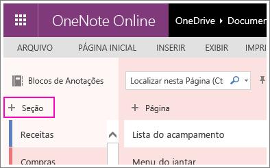 Captura de tela de como criar uma nova seção no OneNote Online.
